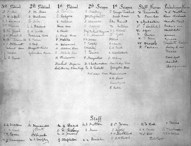 Lady Hardinge Medical College and Hospital, 1921, List of students and staff [Wellcome Collection]